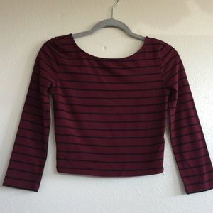 Striped 3/4 Sleeve Crop Top